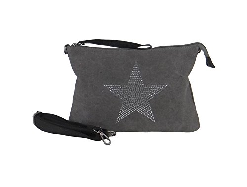 angesagte kleine Canvas Teenager Tasche Umhaengetasche mit Stern aus Strass grau