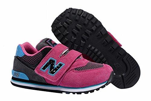 Older Kid classica fibbia scarpe da trekking corsa TXY 574Hook e Loop, Ragazzi, Pink/Purple, 1Y=21CM