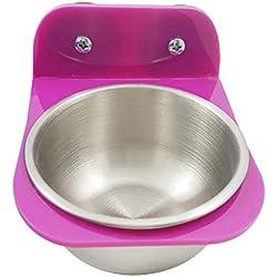 Naisidier - 1 Juego de Cuenco de Acero Inoxidable para la alimentación de Loro para Colgar, para Alimentos y Agua, para Jaula, Color al Azar (tamaño S) Suministros para Mascotas