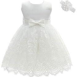 AHAHA Robe Bebe Fille Ceremonie Princesse Mariage Robe Bapteme Fille Bebe, Blanc, 6M/6-12mois