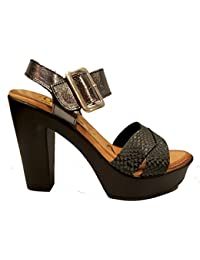Oh my Sandals - Sandalia de tacón alto hecha en Piel - 3695 - Plomo y Negro
