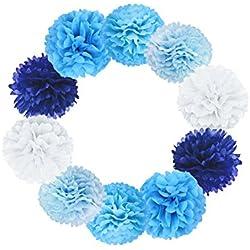 Paquete 10 piezas 20cm pompones de papel para decoración de boda (diferentes colores)