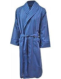 Robe de chambre 100% coton à rayures bleues - homme