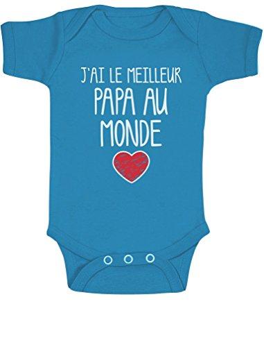 J'Ai Le mailleur Papa du Monde Body Bébé Manche Courte 6-12 Mois Bleu