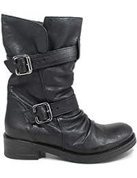 3261e5be52 Personal Shoepper Stivali Biker Boots Risvoltabili Cion Cinturini Donna  0452 Nero Vera Pelle Made in Italy
