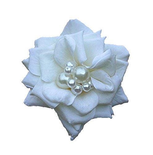 Haarschmuck Haarblüte Haarblume Ansteckblume Rose weiß Hochzeit #41984