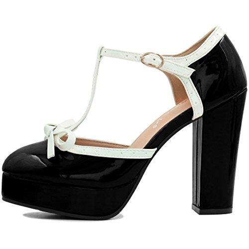 Allegra K Donne T Grosso Tacco Cinturino Caviglia Pompe Nero US 7.5 Black