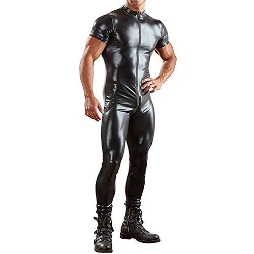Wet Look Body en Cuir Maillot de Corps Justaucorps Zipper Costume Catsuit Parfait pour la Performance sur scène,M