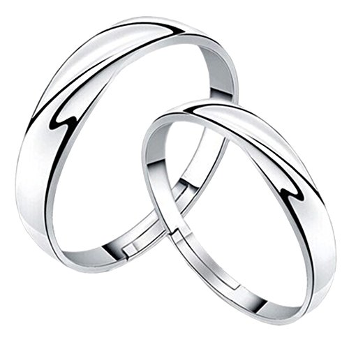 Guirui jewelry romantico onda anelli per coppia - zircone d'argento anelli regolabili aperti per coppia
