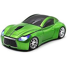 ratones de ordenador óptica deportiva ratón inalámbrico de coche (verde)
