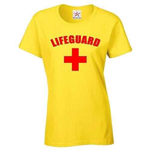 Rettungsschwimmer Kreuz + Damen T-Shirts - Schicke Verkleidung Strandparty Rot Bedruckt Damen T-Shirt - Gelb, 18-20 / XX-Large