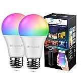 LE Wlan Lampe, E27, 9 W, Intelligente Glühbirne, Wifi, Alexa, 850 lm, RGB Farben mit Warmweiß, verbunden, WiFi, kompatibel mit Google Home Alexa, Kein Gateway erforderlich, 2 Pack