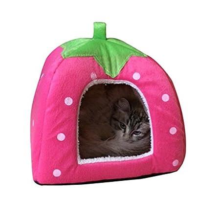 JEELINBORE Weiche Haustier Erdbeeren Schlafsack Hundehütte Katzenhöhle Hund Katze Haus Kuschelhöhle Körbchen