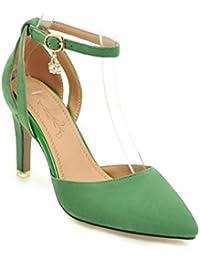 Fina con sandalias huecas de niña de tacón alto, Verde 37
