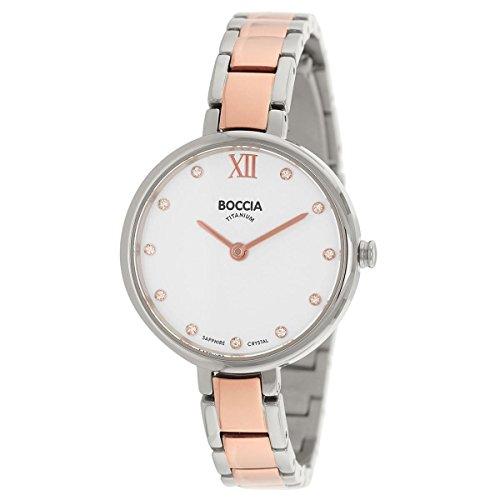 Boccia Damen Analog Quarz Uhr mit Titan Armband 3251-02