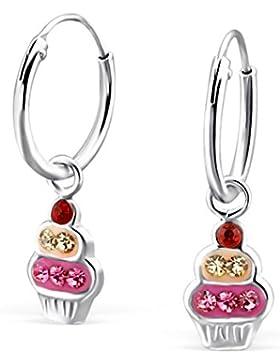 GH1a Kristall Eis Creolen 925 Echt Silber Ohrringe Mädchen Kinder Geschenkidee