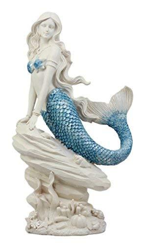 Atlantic Sammlerstücke Aqua Blau Meerjungfrau sitzend auf Tailed Sea Rock Figur 29,2cm H Ocean Aquamarin Prinzessin Ariel mit Coral Reef Deko Statue -