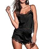 Camisones para Mujer Ropa para Mujer Conjunto De Pijama 2 Piezas De Encaje Camiseta Y Pantalones Ropa De Dormir De Satén ZARLLE