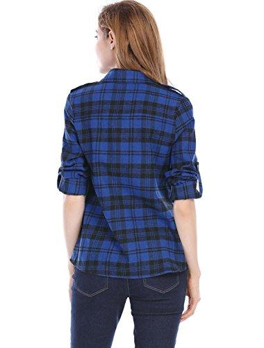 Allegra K Allegra K donne controlli arrotolate maniche tasche a pattina flanella Camicia XS blu Blue
