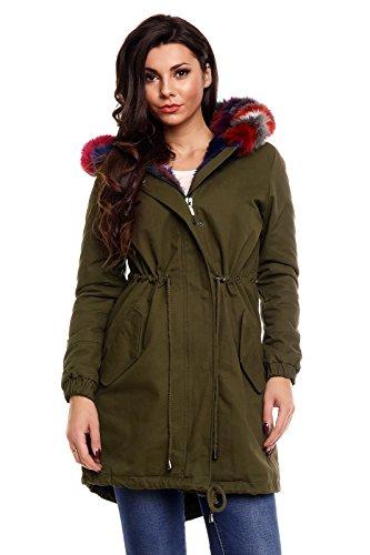 Damen Parka Mantel Jacke große Fellkapuze innen warm gefüttert Fell Futter khaki-bunt