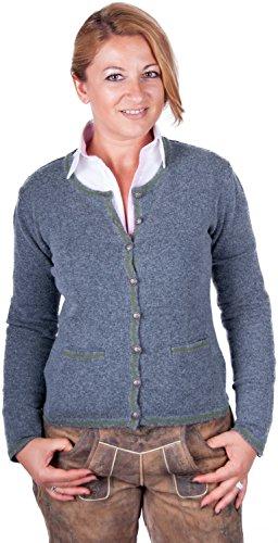 Almwerk Damen Trachten Strick Jacke Diana in grün, blau, grau schwarz und fuchsia, Größe Damen:XS - Größe 34;Farbe:Stein/Grün