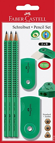 Faber-Castell 217060 Lápiz Set manga, 3 lápices, borrador y sacapuntas, verde