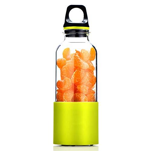 Akku Mixer Flasche 2600 mAh Tragbar Smoothie Maker USB für Eis, Milchshake, Obst 500ml Juicer Cup Mini Entsafter Blender für Reise Sport Standmixer 2 Edelstahlmesser (Blender-cup Mini)