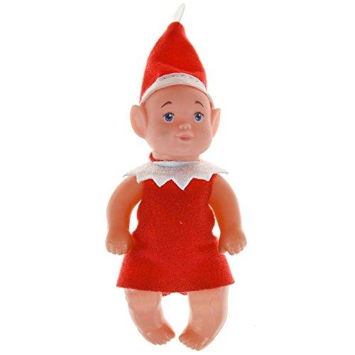 üm, niedlich, Elfen-Design, Plüsch, bewegliche Puppe, Junge Mädchen, Blaue Auge, Weihnachtsmann-Kostüm, Outfit rot ()