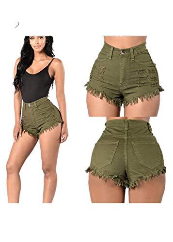Fliegend Damen High Waist Jeansshorts Zerrissen Kurze Hosen Übergroße Sexy Hotpants Denim Shorts Mit Quaste Ripped Shorts XL -