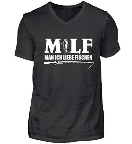Kostüm Angler Fisch - Man ich Liebe fischen Angeln Angler T-Shirt Haken Rute Angel Bekleidung Kostüm Geschenk - Herren V-Neck Shirt -XL-Schwarz
