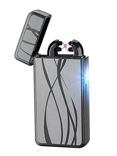 Aokvic USB elektronisches Feuerzeug aufladbar lichtbogen (Schwarz)