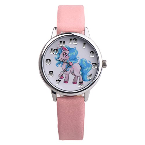Gemini _ Mall Kinder Mädchen Jungen Uhren Einhorn Muster Faux Leder Analog Quarz Armbanduhr Geschenk