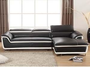 Canapé d'angle en cuir MERONA - Noir - Angle droit