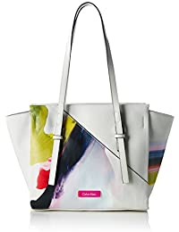 Calvin Klein M4RISSA Print Medium Tote, Sac Femme, Blanc (Powder White), 25 x 12 x 42 cm