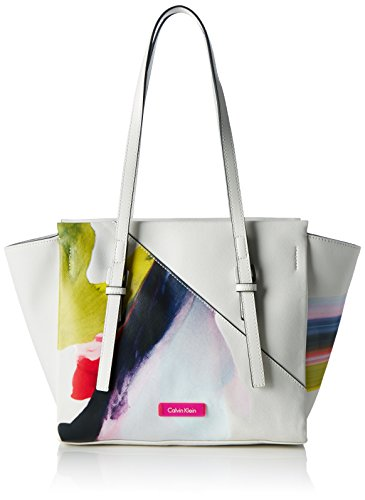 Calvin Klein M4RISSA Print Medium Tote, Sac Femme, Blanc (Powder White), 25x12x42 cm (b x h x t)