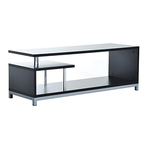 Mueble para Televisor con Soporte Moderno de TV 114x40x40,5cm Mesa TV Forma G 2 Color (Negro)