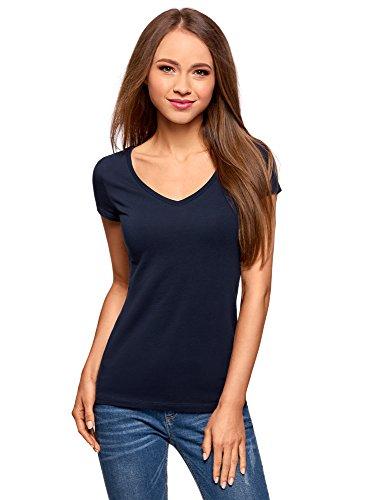 oodji Collection Damen Tagless T-Shirt Basic mit V-Ausschnitt, Blau, DE 42 / EU 44 / XL