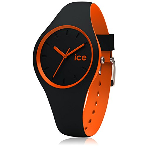 Ice-Watch 001528 Ice Duo - Black Orange Montre pour Homme avec Bracelet en Silicone Noir/Orange, Small