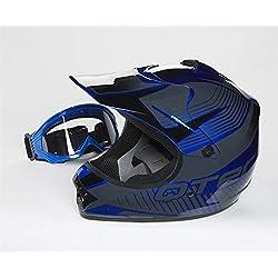 Qtech Casque de Moto pour Enfant avec Lunettes de Protection Motocross Cross Noir Mat - Bleu - XS