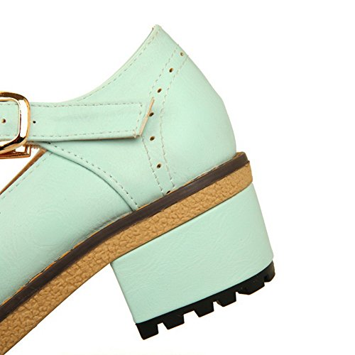 VogueZone009 Femme Couleur Unie Pu Cuir à Talon Correct Rond Boucle Chaussures Légeres Vert