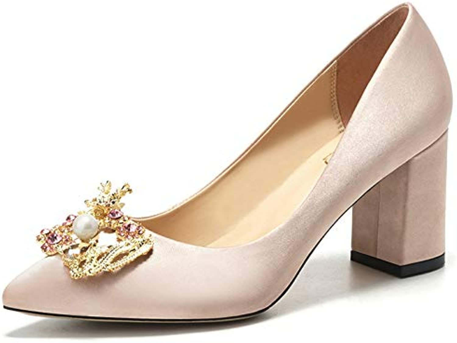 2a81d7fdb691 Ladies  Satin Court Shoes Champagne Rhinestone High Heels Dinner Wedding  Wedding Wedding Match Dress Glamour Elegance 448 B07GDL4Z9Y Parent 03e343