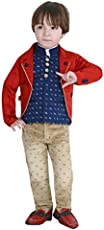 Dotson Party Wear Boys Suit Set of 4 with Full Sleeves Shirt (White), Modi Jacket (Blue), Trouser (Fawn) and Coat (Red)