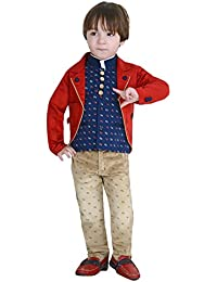 Dotson Boys Suit with Full Sleeves Shirt (White), Modi Jacket (Blue), Trouser (Fawn) and Coat (Red) (24 to 33 Months) - Set of 4