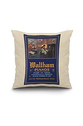 Waltham Pianos Vintage Poster (artist: Simmons, Georges Harmon) c. 1920 (20x20 Spun Polyester Pillow Case, White Border)