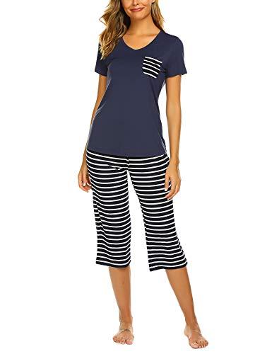 Unibelle Damen Schlafanzug Kurz Sommer Pyjama Kurze Ärmel Pyjamahose Nachtwäsche Hausanzug Kurzarm Sleepwear S-XXL -