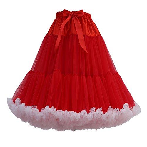 FOLOBE Frauen Tutu Kostüm Ballett Tanz Multi-Layer Puffy Rock Erwachsene luxuriöse weiche Petticoat, M, ()