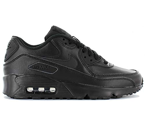 various colors f44a5 77924 Nike Youths Air MAX 90 Black Leather Trainers 37.5 EU
