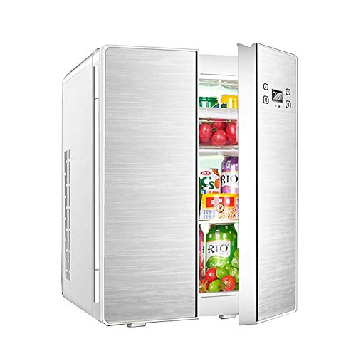HUIQC Tragbarer Doppeltür-Kühlschrank mit Gefrierfach 25L Liter, Mini-Wechselstrom- oder Gleichstrom-Kühlboxen, Getränke, Wein-Camping, Reisen, Picknicks, kompakt (Farbe : Silber, größe : Style B)