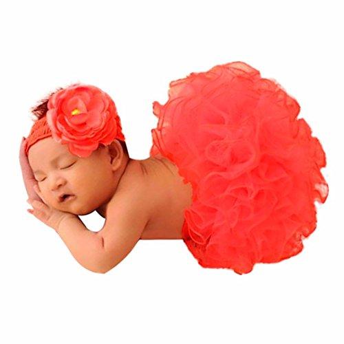 Rosa Foto Fotografie Outfits Baby Kostüm Tütü Rock Pettiskirt Mädchen Blumen Stirnband Xinantime (Standard, Rot)