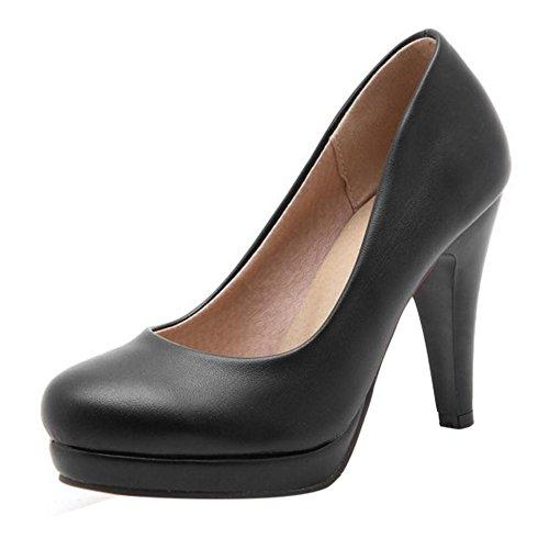 TAOFFEN Damen Fashion Schlupfschuhe Trichterabsatz Pumps Gem¨¹tlich Leisure Schuhe Schwarz